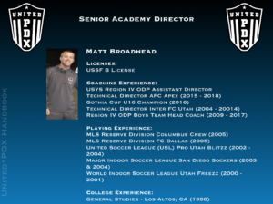 Senior Academy Director: Matt Broadhead